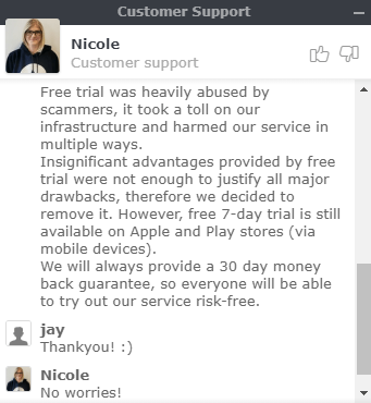 free trial support chat