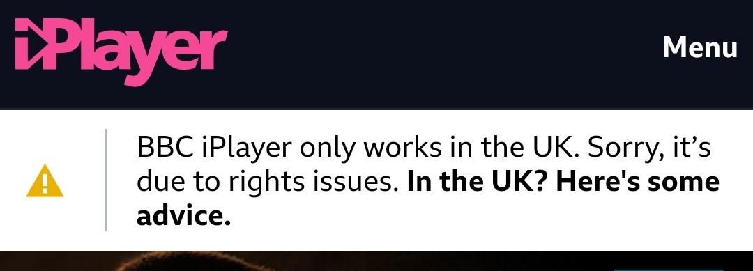BBC iPlayer error message