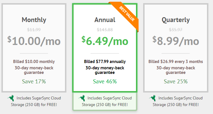 Choose a price package