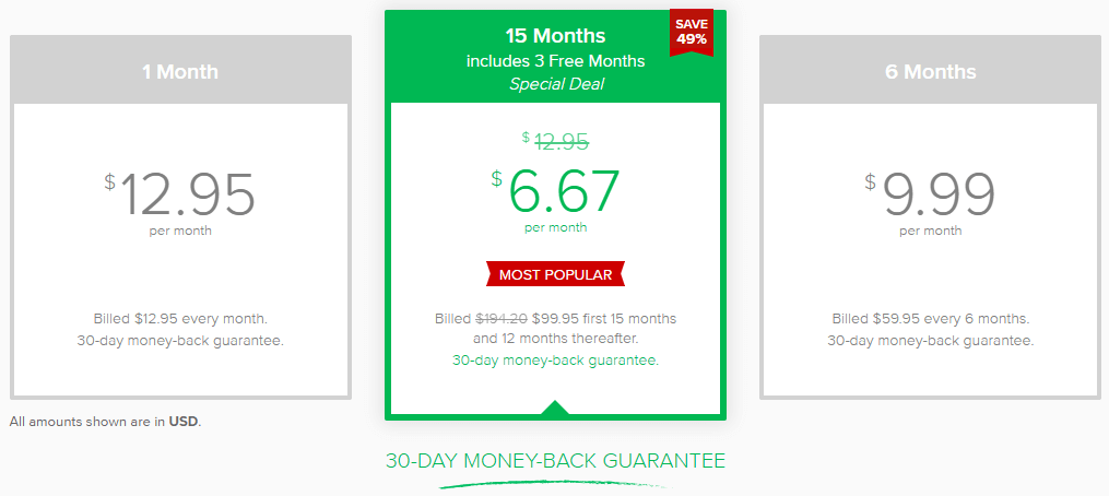 Choose price packages