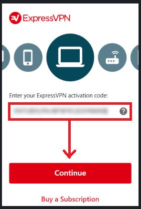 Enter in ExpressVPN code