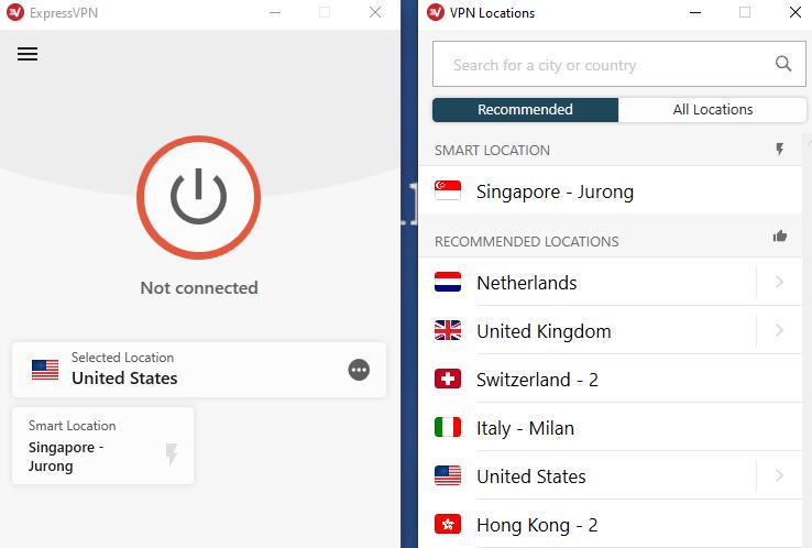 ExpressVPN app server locations