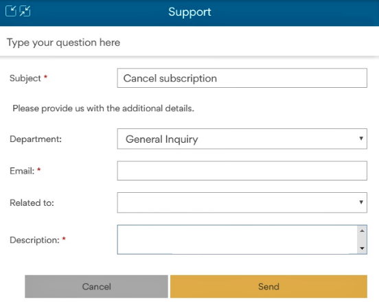 Filll in boxes for email support