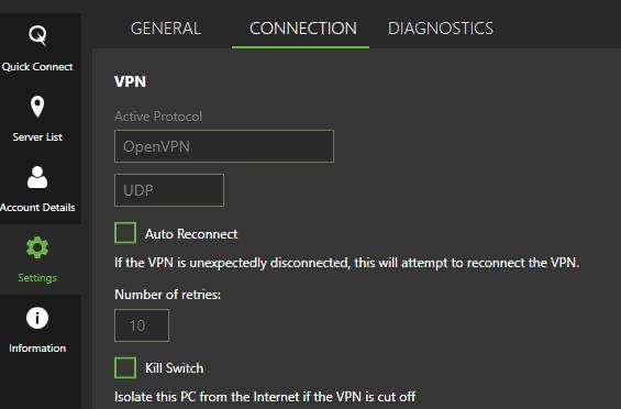 IPVanish app settings