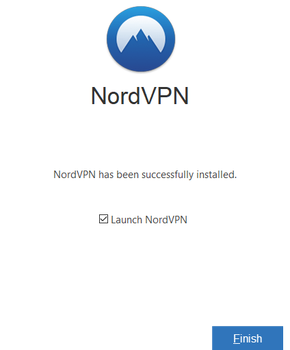 Launch the NordVPN app and click on Finish