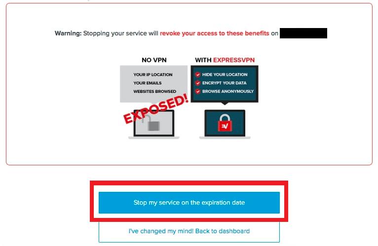 Stop expressVPN service on expiration date