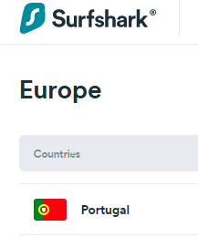 Surfshark server inPortugal