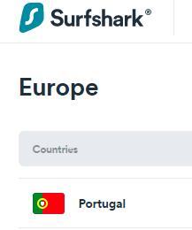 Surfshark server inPortugal