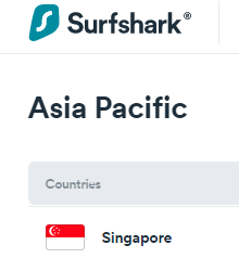 Surfshark servers in Singapore