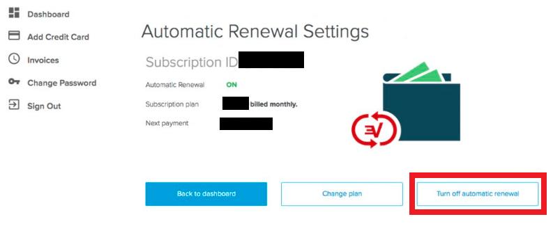 Turn off automatic renewal ExpressVPN account
