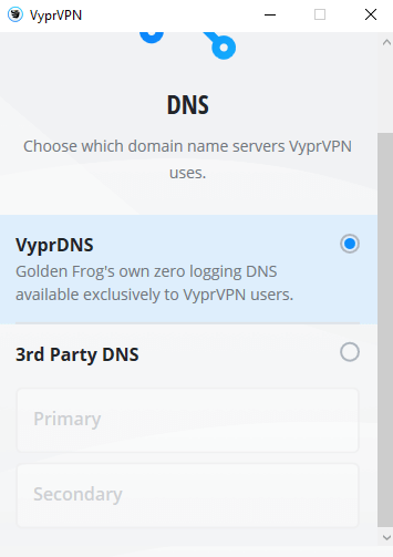 VyprVPN 3rd party DNS options