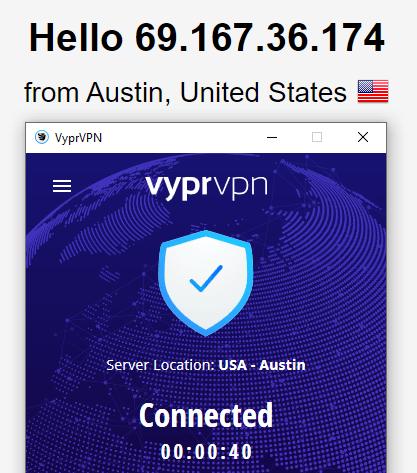 VyprVPN DNS leak test US server