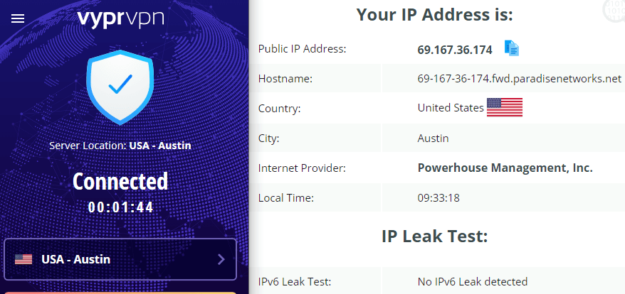 VyprVPN IP leak test US server