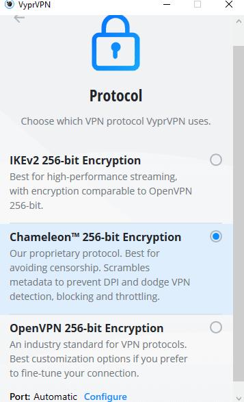 VyprVPN app protocols for Windows
