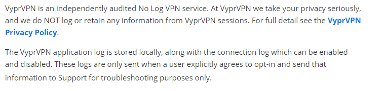 VyprVPN no-logs policy