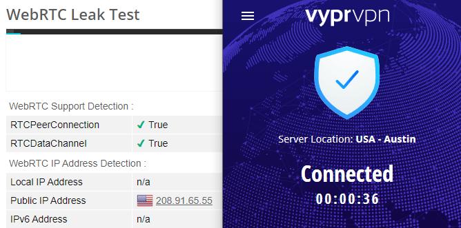 VyprVPN webRTC leak test US server
