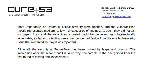 Results of TunnelBear audit