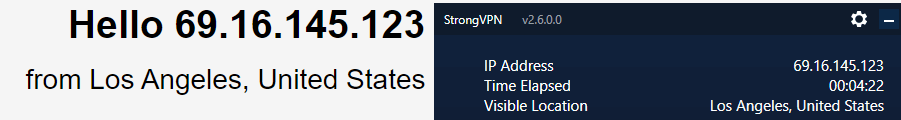 StrongVPN DNS leak test US server
