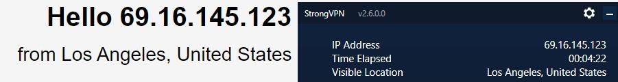 StrongVPN DNS leak test US server