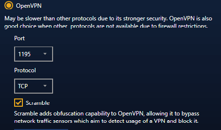 StrongVPN Scramble option for OpenVPN traffic