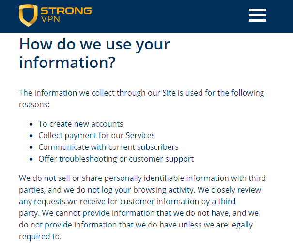 StrongVPN logging policy