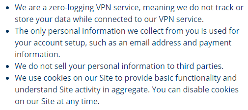 StrongVPN privacy policy