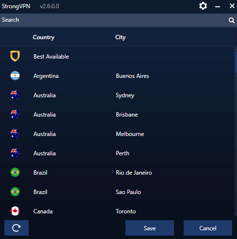 StrongVPN server list Windows app