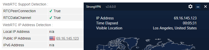 StrongVPN webRTC leak test US server