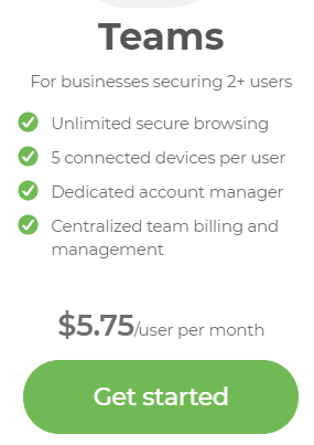 TunnelBear Teams price