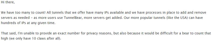 TunnelBear server count