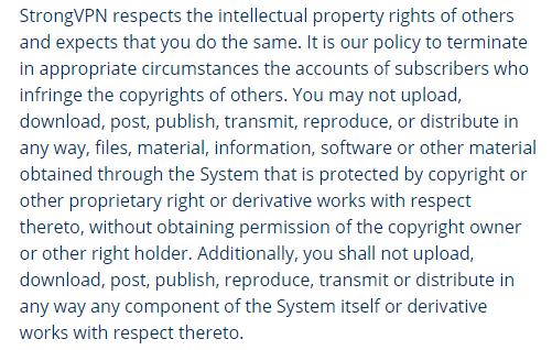 Violation of copyright material
