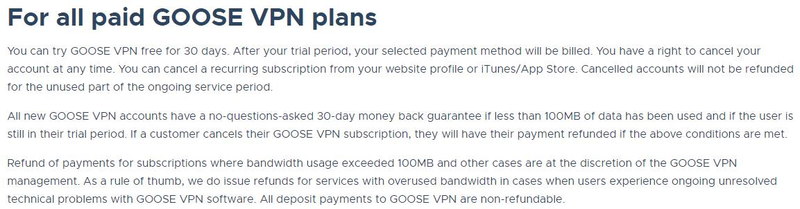 Goose VPN refund
