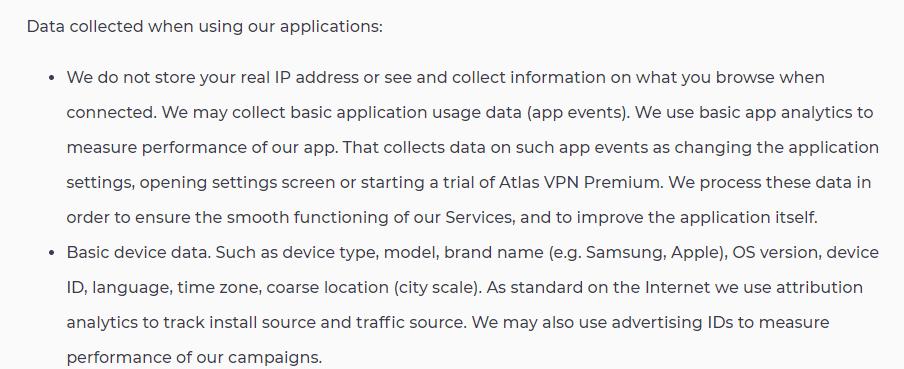 Logging policy Atlas VPN
