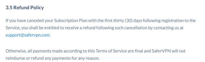SaferVPN refund policy