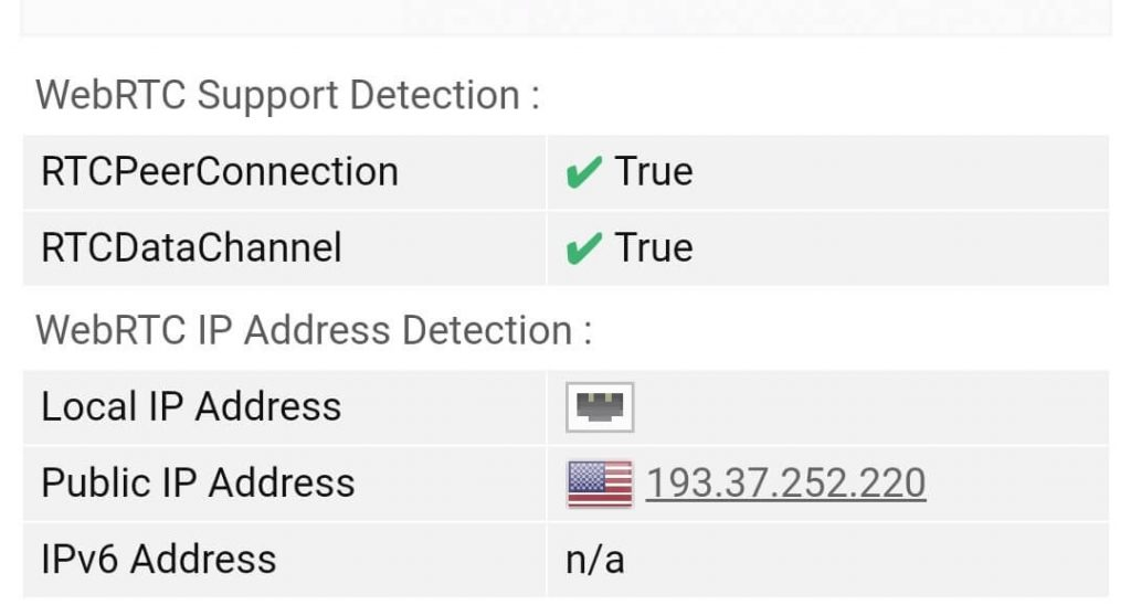 WebRTC test US server