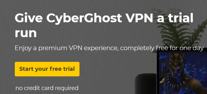 CyberGhost 24 hour free trial run with premium access to the service