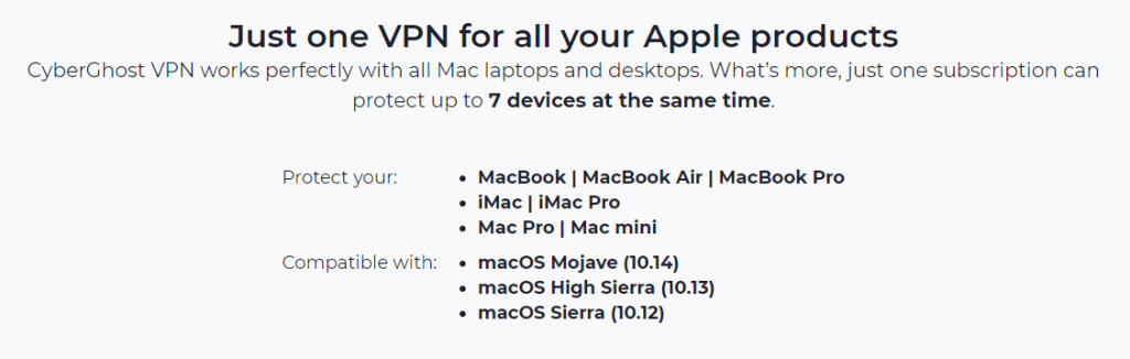 CyberGhost VPN compatibility towards all Mac products