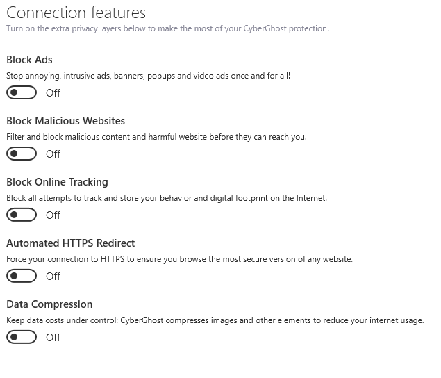 CyberGhost security connection features on the app
