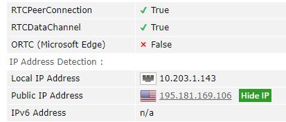 CyberGhost testing for WebRTC leaks through a US server
