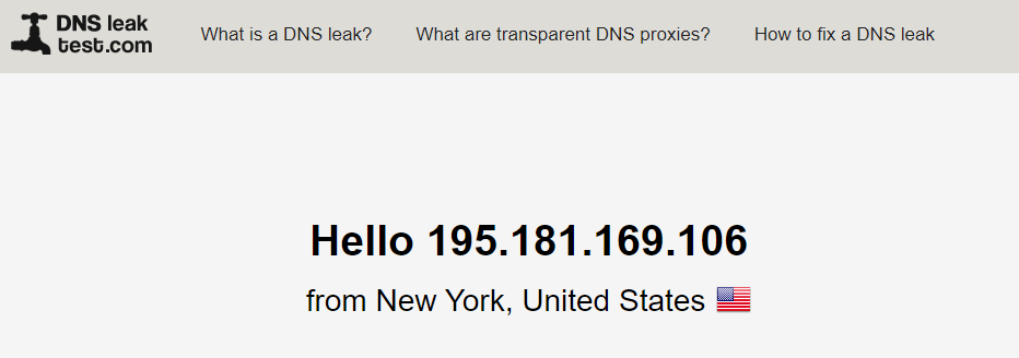 CyberGhost testing out for any DNS leaks through a US server