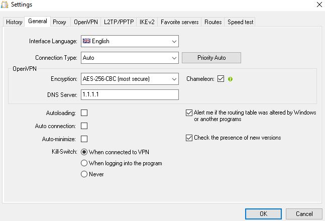 HideMy.name app settings