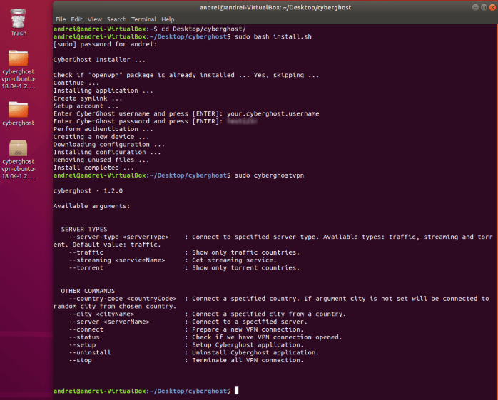 Installing CyberGhost on the Linux app