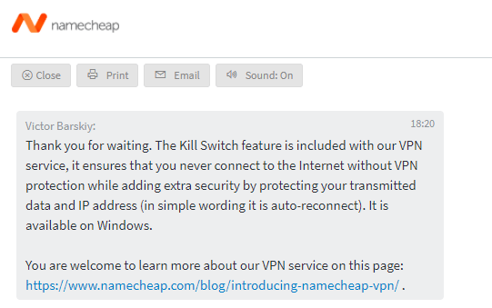 Namecheap VPN Kill Switch available on Windows