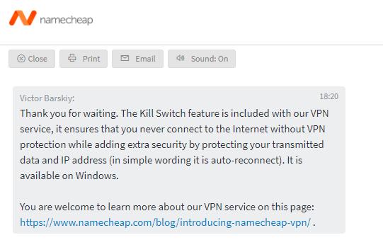Namecheap VPN Kill Switch available on Windows