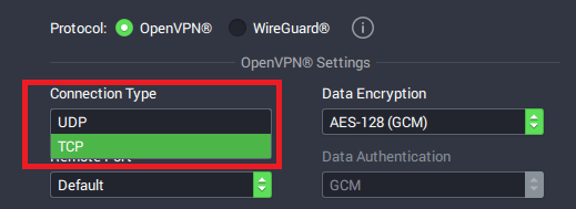 PIA OpenVPN protocol Windows app