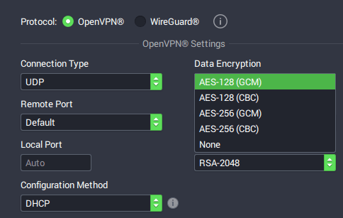 PIA Windows app encryption settings