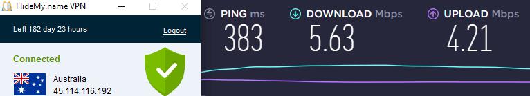 Speed test AUS server