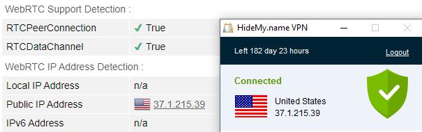 WebRTC leak test US server Hidemyname vpn