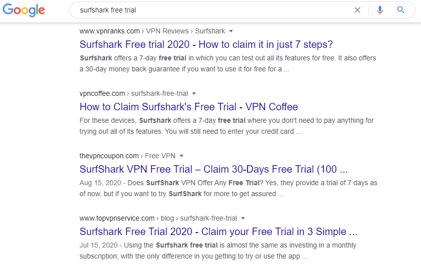Zero ranking page results VPN reviews