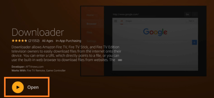 Downloader app on Firestick step 3